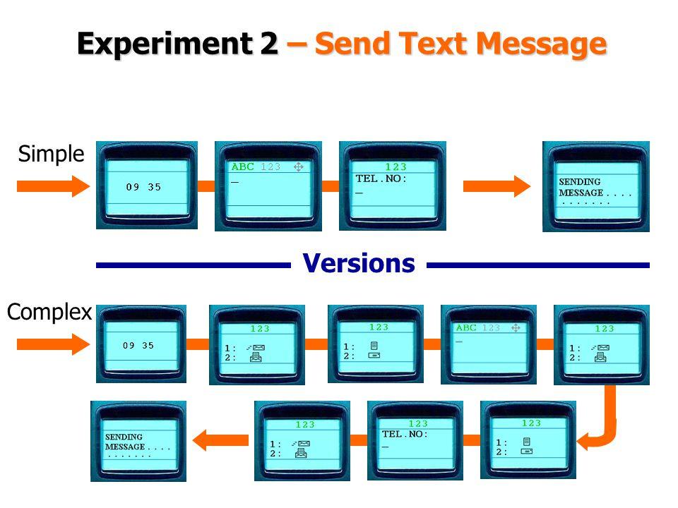 Experiment 2 – Send Text Message Versions Simple Complex