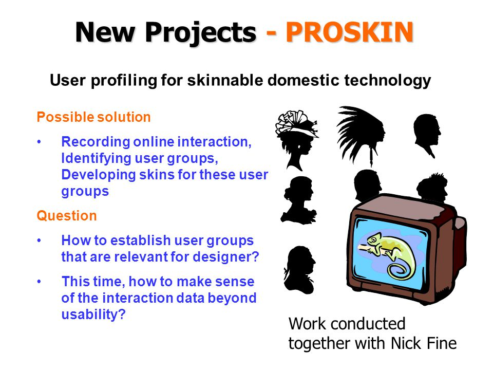 New Projects - PROSKIN Possible solution Recording online interaction, Identifying user groups, Developing skins for these user groups Question How to establish user groups that are relevant for designer.