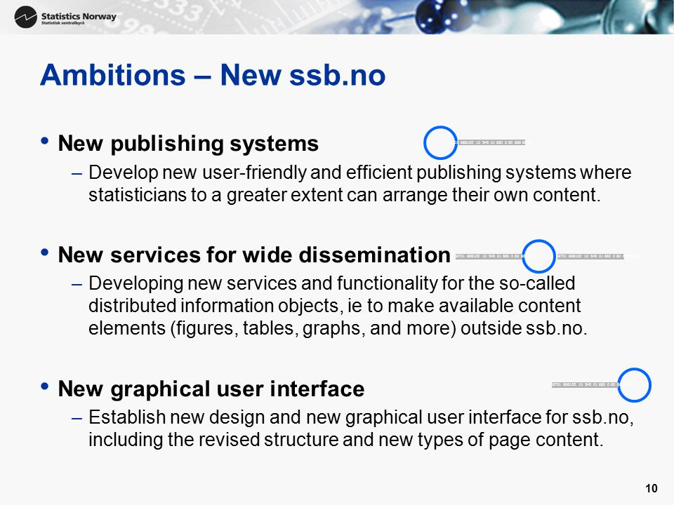 10 Ambitions – New ssb.no New publishing systems –Develop new user-friendly and efficient publishing systems where statisticians to a greater extent can arrange their own content.
