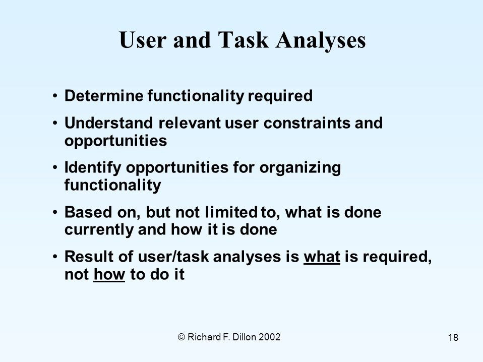 © Richard F. Dillon 2002 18 User and Task Analyses Determine functionality required Understand relevant user constraints and opportunities Identify op