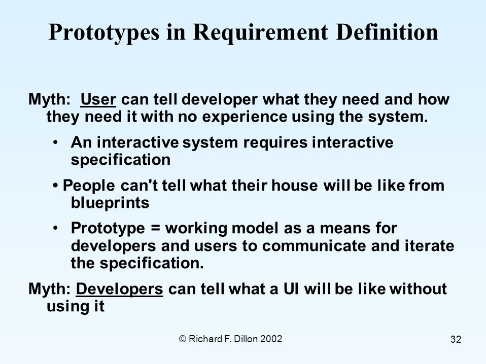 © Richard F. Dillon 2002 32 Prototypes in Requirement Definition Myth: User can tell developer what they need and how they need it with no experience