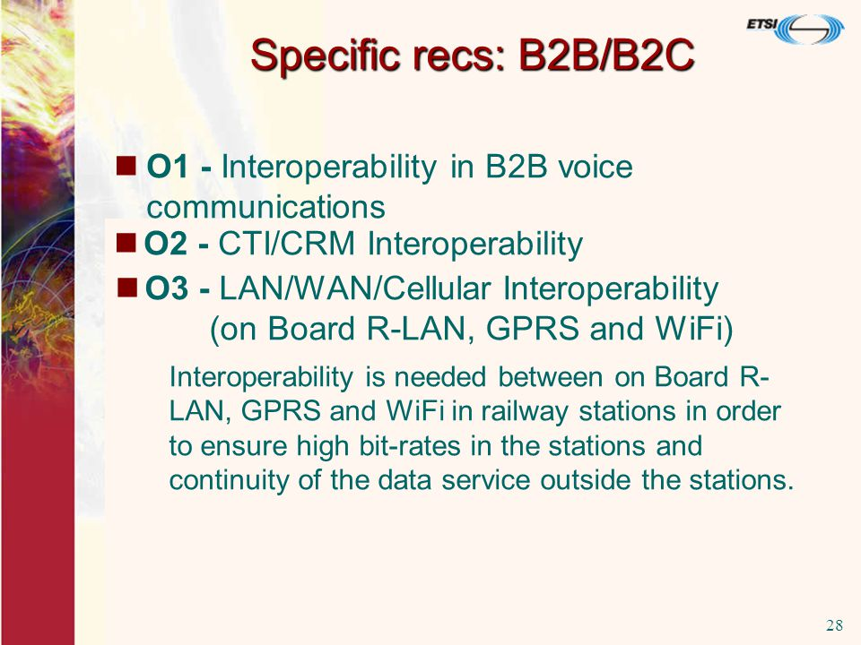 25/11/200328 O1 - Interoperability in B2B voice communications is not fully provided.