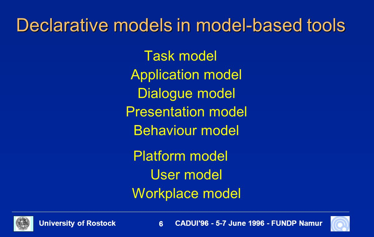 University of Rostock 27 CADUI 96 - 5-7 June 1996 - FUNDP Namur View User model ( modified ) Interaction table and generation result