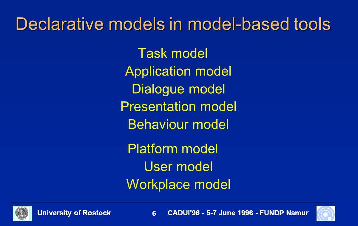 University of Rostock 6 CADUI 96 - 5-7 June 1996 - FUNDP Namur Declarative models in model-based tools Task model Application model Dialogue model Presentation model Behaviour model Platform model User model Workplace model