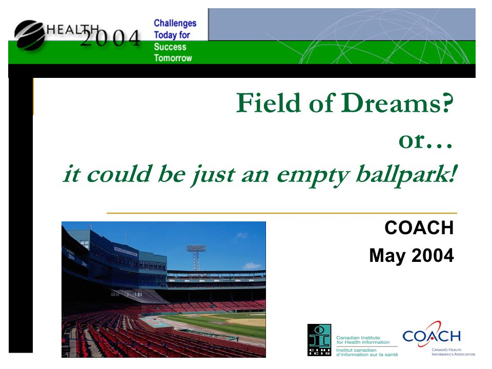 Field of Dreams or… it could be just an empty ballpark! COACH May 2004