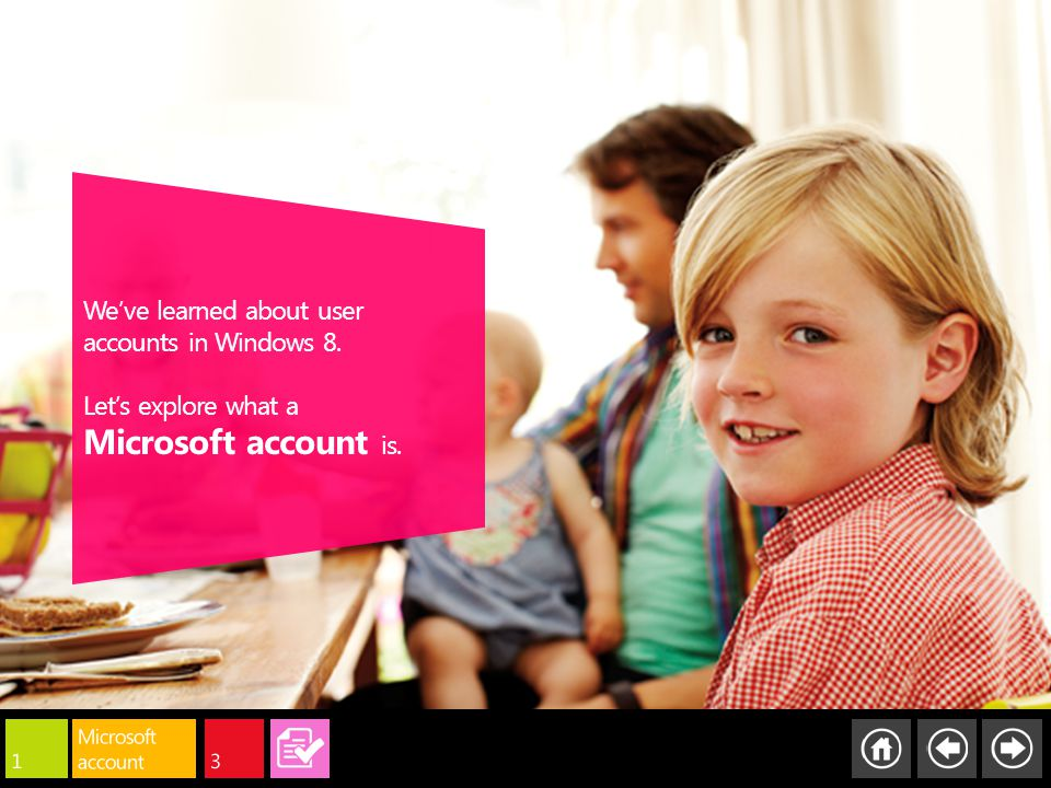 We've learned about user accounts in Windows 8. Let's explore what a Microsoft account is.