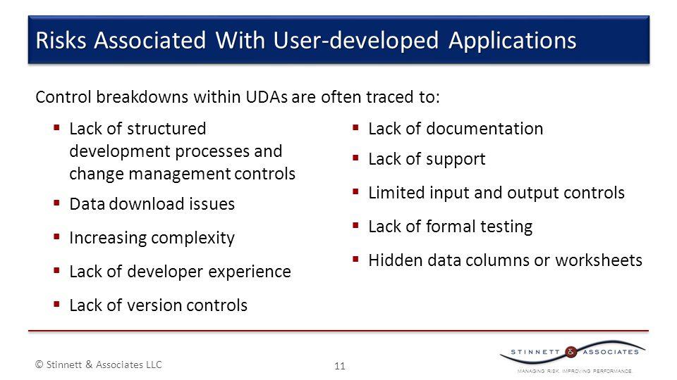 MANAGING RISK. IMPROVING PERFORMANCE. © Stinnett & Associates LLC 11 Risks Associated With User-developed Applications Control breakdowns within UDAs