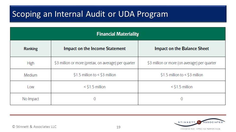 MANAGING RISK. IMPROVING PERFORMANCE. © Stinnett & Associates LLC 19 Scoping an Internal Audit or UDA Program