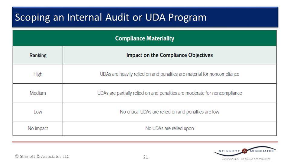MANAGING RISK. IMPROVING PERFORMANCE. © Stinnett & Associates LLC 21 Scoping an Internal Audit or UDA Program