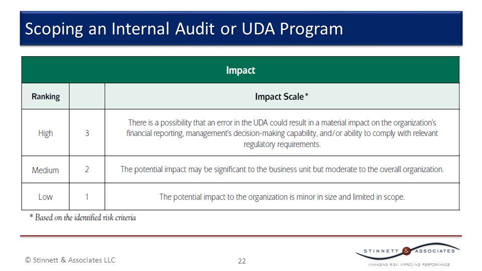MANAGING RISK. IMPROVING PERFORMANCE. © Stinnett & Associates LLC 22 Scoping an Internal Audit or UDA Program