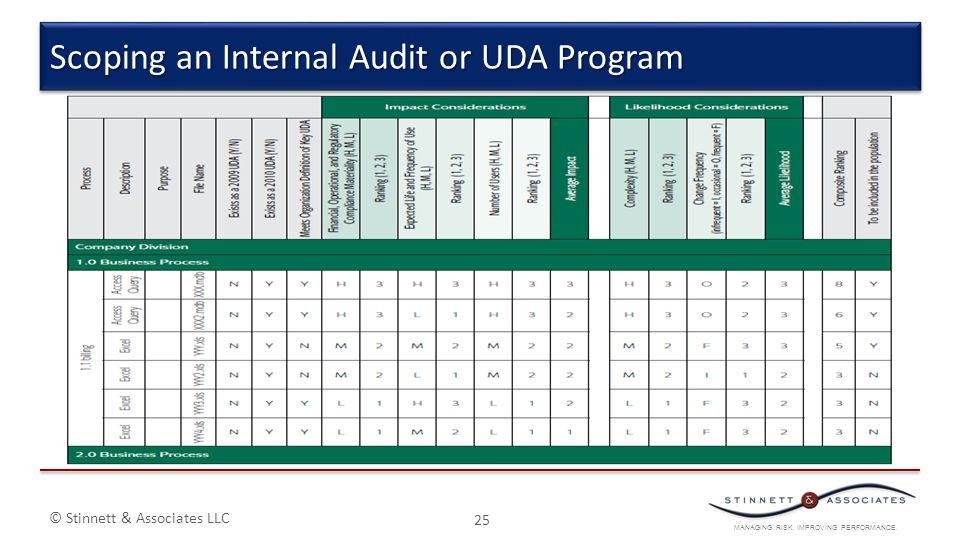 MANAGING RISK. IMPROVING PERFORMANCE. © Stinnett & Associates LLC 25 Scoping an Internal Audit or UDA Program