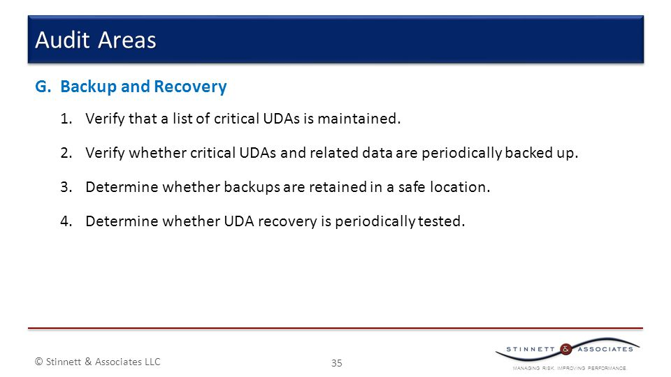 MANAGING RISK. IMPROVING PERFORMANCE. © Stinnett & Associates LLC G.Backup and Recovery 1.Verify that a list of critical UDAs is maintained. 2.Verify