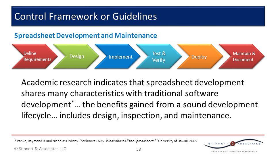 MANAGING RISK. IMPROVING PERFORMANCE. © Stinnett & Associates LLC 38 Control Framework or Guidelines Academic research indicates that spreadsheet deve