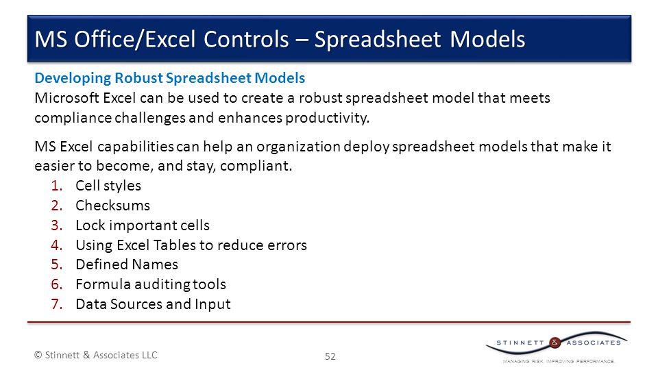 MANAGING RISK. IMPROVING PERFORMANCE. © Stinnett & Associates LLC 52 MS Office/Excel Controls – Spreadsheet Models Developing Robust Spreadsheet Model