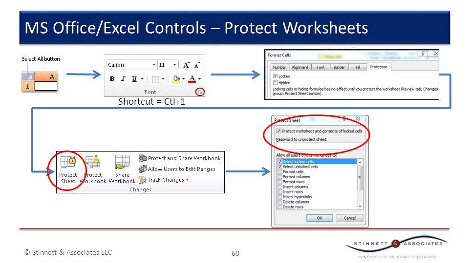 MANAGING RISK. IMPROVING PERFORMANCE. © Stinnett & Associates LLC 60 MS Office/Excel Controls – Protect Worksheets Shortcut = Ctl+1