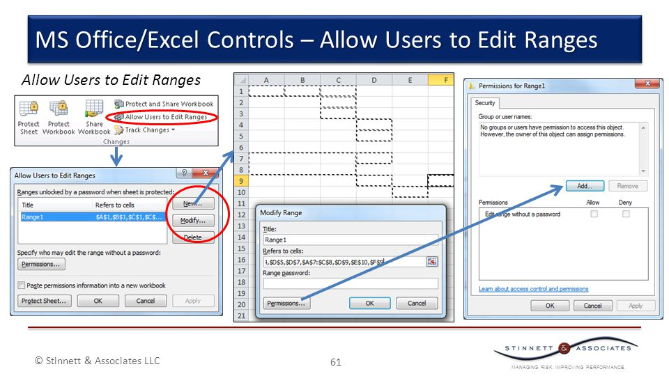 MANAGING RISK. IMPROVING PERFORMANCE. © Stinnett & Associates LLC 61 MS Office/Excel Controls – Allow Users to Edit Ranges Allow Users to Edit Ranges