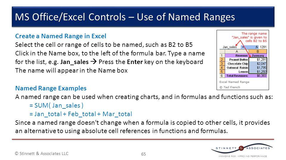 MANAGING RISK. IMPROVING PERFORMANCE. © Stinnett & Associates LLC 65 MS Office/Excel Controls – Use of Named Ranges Create a Named Range in Excel Sele