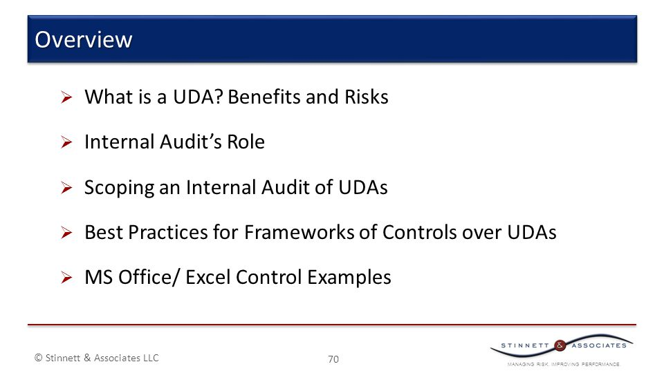 MANAGING RISK. IMPROVING PERFORMANCE. © Stinnett & Associates LLC  What is a UDA? Benefits and Risks  Internal Audit's Role  Scoping an Internal Au
