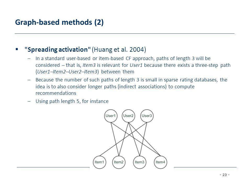 - 23 - Graph-based methods (2) 