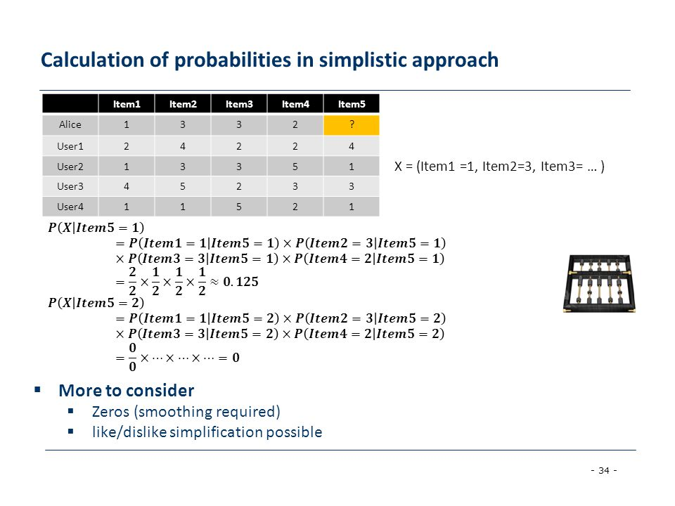 - 34 - Calculation of probabilities in simplistic approach Item1Item2Item3Item4Item5 Alice1332? User124224 User213351 User345233 User411521  More to
