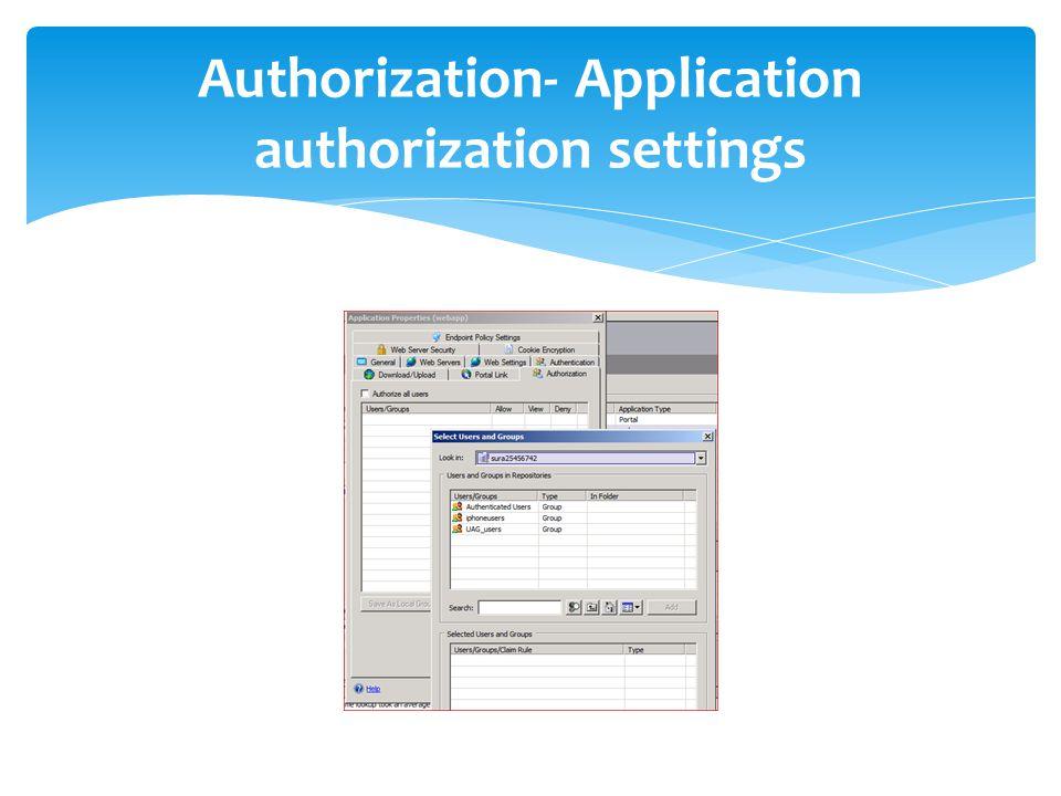Authorization- Application authorization settings
