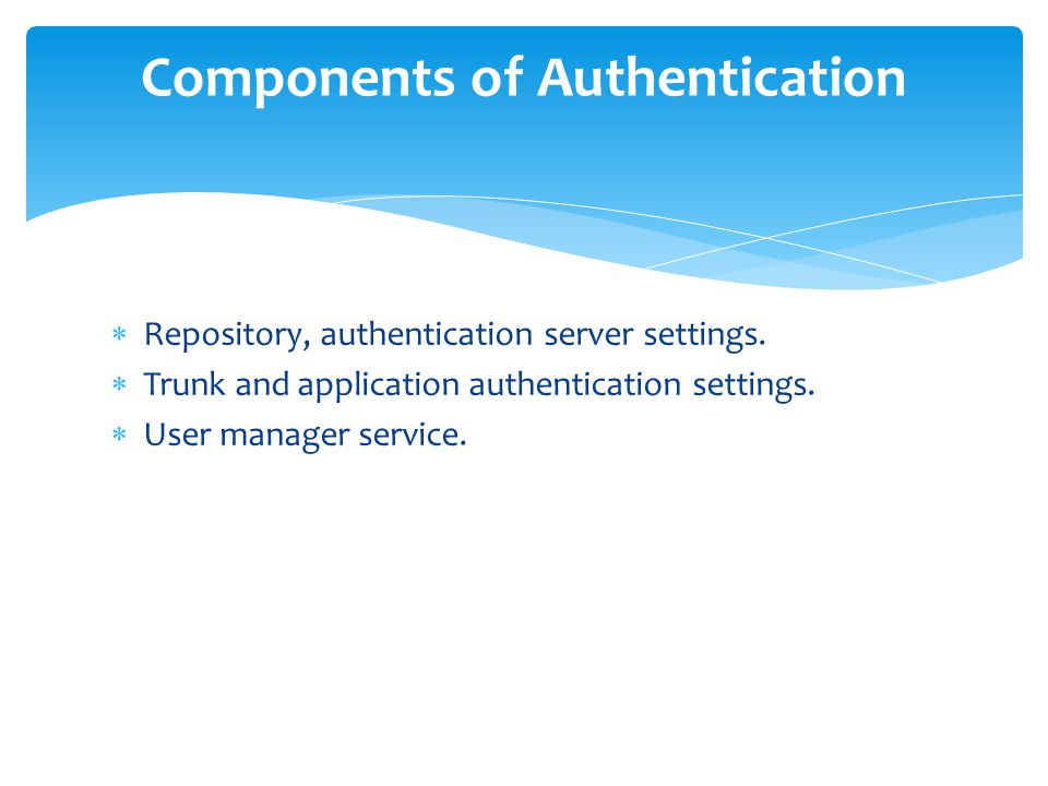  Repository, authentication server settings.  Trunk and application authentication settings.  User manager service. Components of Authentication