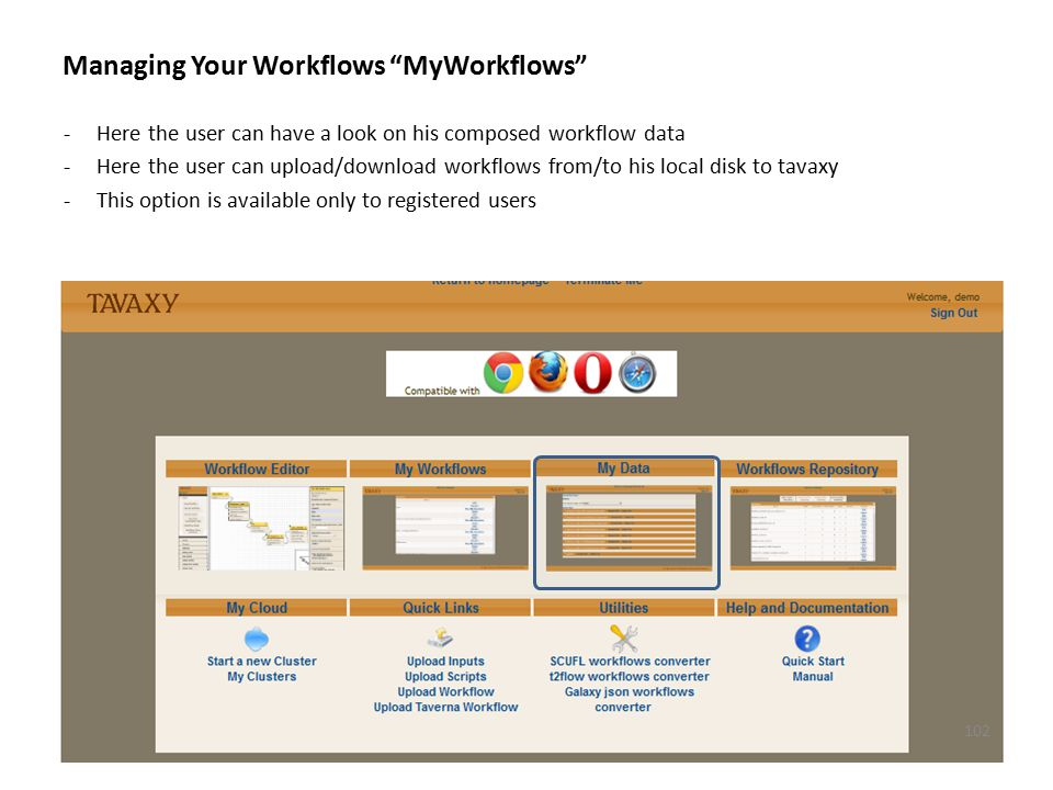 """Managing Your Workflows """"MyWorkflows"""" -Here the user can have a look on his composed workflow data -Here the user can upload/download workflows from/t"""