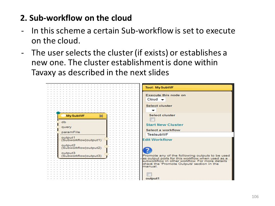 -In this scheme a certain Sub-workflow is set to execute on the cloud. -The user selects the cluster (if exists) or establishes a new one. The cluster