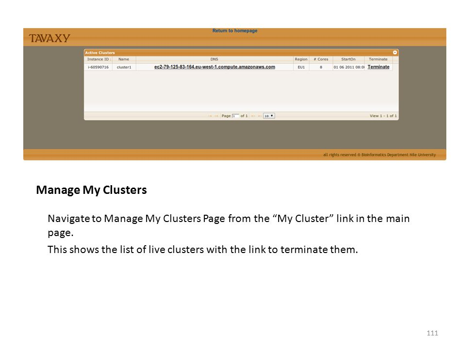 """Manage My Clusters Navigate to Manage My Clusters Page from the """"My Cluster"""" link in the main page. This shows the list of live clusters with the link"""