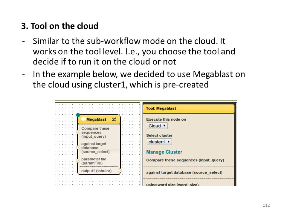 -Similar to the sub-workflow mode on the cloud. It works on the tool level. I.e., you choose the tool and decide if to run it on the cloud or not -In