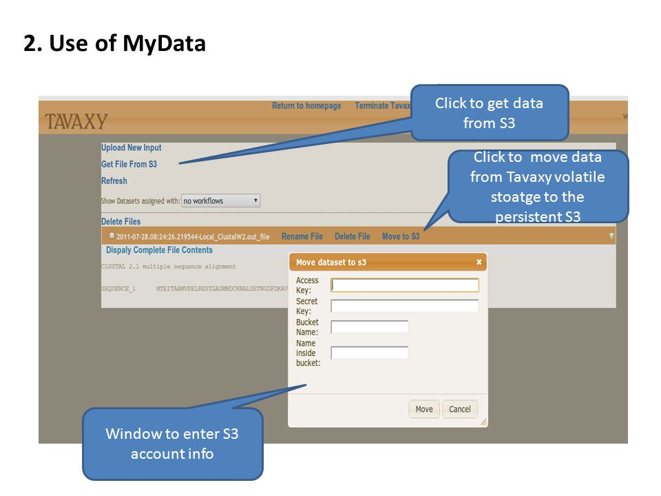 2. Use of MyData Click to get data from S3 Click to move data from Tavaxy volatile stoatge to the persistent S3 Window to enter S3 account info