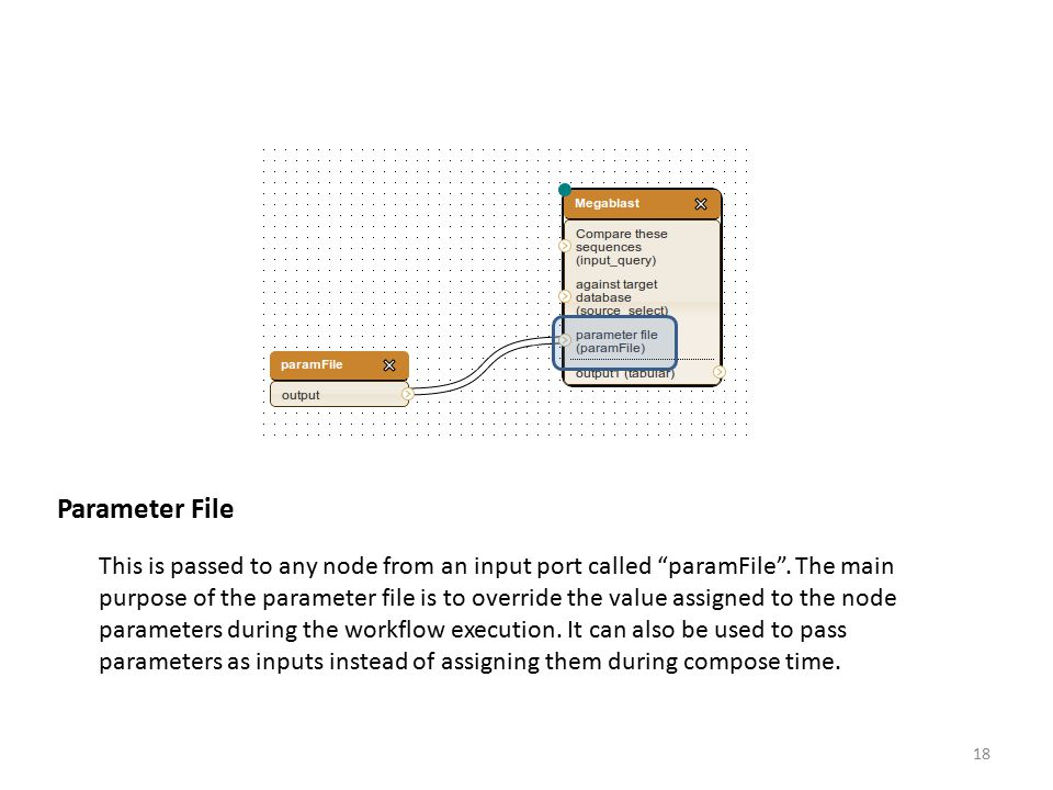 """Parameter File This is passed to any node from an input port called """"paramFile"""". The main purpose of the parameter file is to override the value assig"""