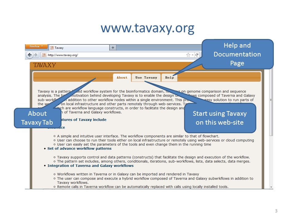 www.tavaxy.org 3 About Tavaxy Tab Start using Tavaxy on this web-site Help and Documentation Page
