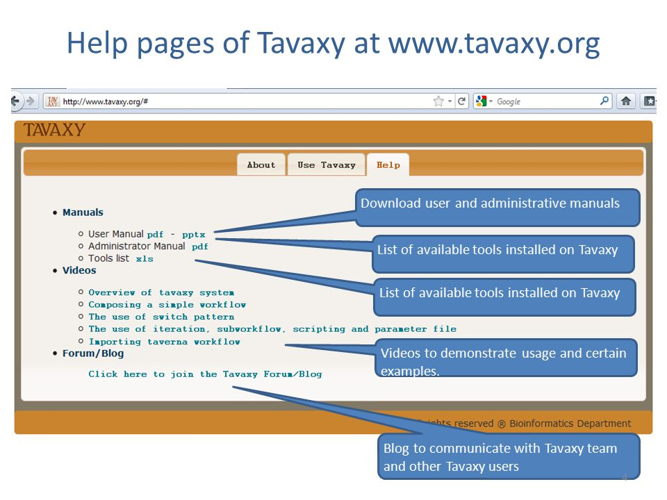 Help pages of Tavaxy at www.tavaxy.org Download user and administrative manuals List of available tools installed on Tavaxy Videos to demonstrate usag