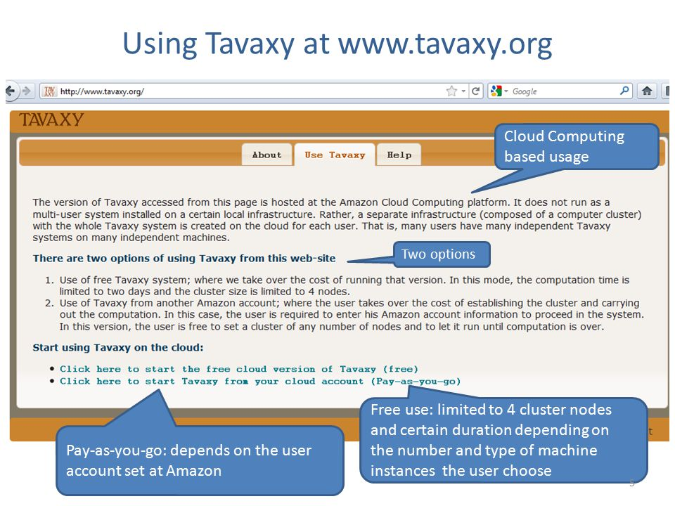 Using Tavaxy at www.tavaxy.org Cloud Computing based usage Free use: limited to 4 cluster nodes and certain duration depending on the number and type