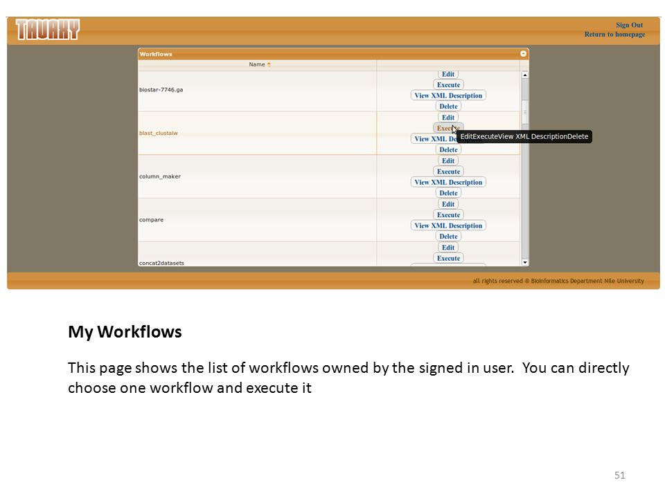 My Workflows This page shows the list of workflows owned by the signed in user. You can directly choose one workflow and execute it 51