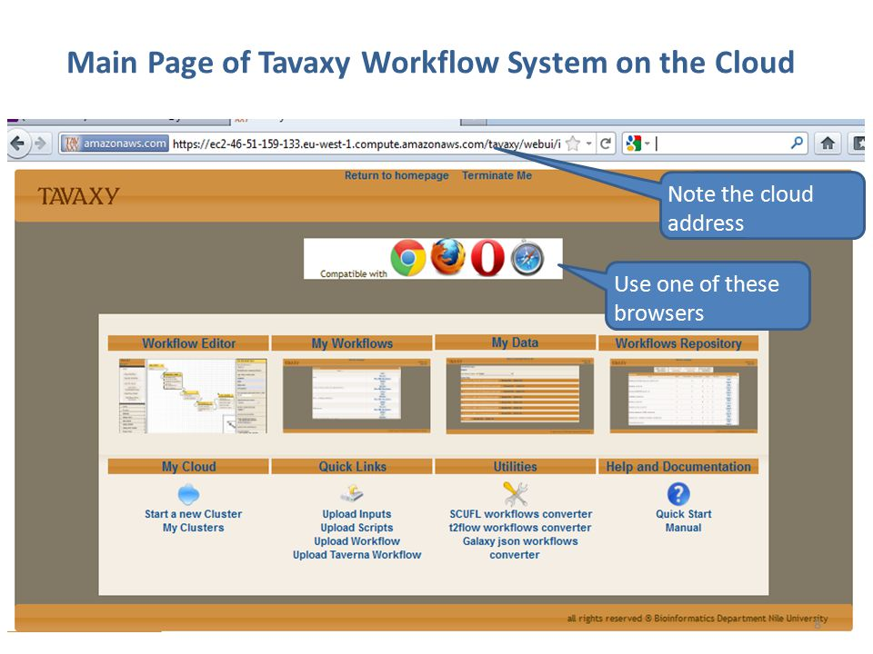 Main Page of Tavaxy Workflow System on the Cloud Use one of these browsers Note the cloud address 8