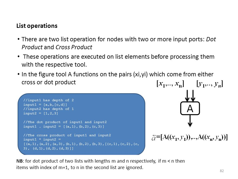 List operations There are two list operation for nodes with two or more input ports: Dot Product and Cross Product These operations are executed on li