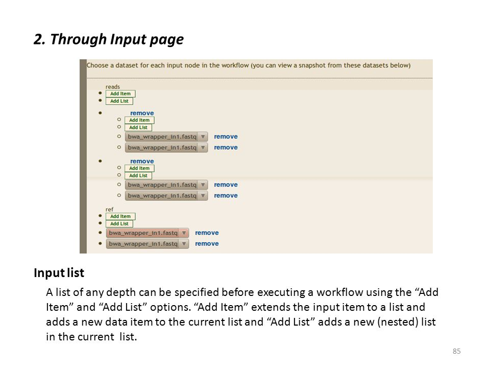 """2. Through Input page Input list A list of any depth can be specified before executing a workflow using the """"Add Item"""" and """"Add List"""" options. """"Add It"""
