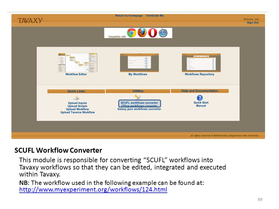 """SCUFL Workflow Converter This module is responsible for converting """"SCUFL"""" workflows into Tavaxy workflows so that they can be edited, integrated and"""