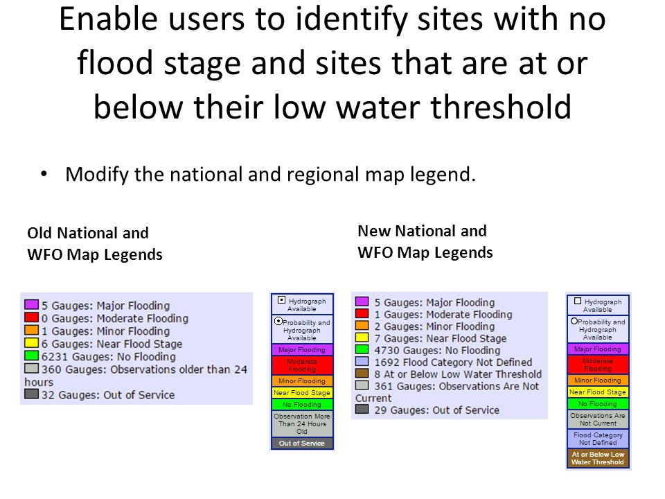 Enable users to identify sites with no flood stage and sites that are at or below their low water threshold Old National and WFO Map Legends Modify the national and regional map legend.