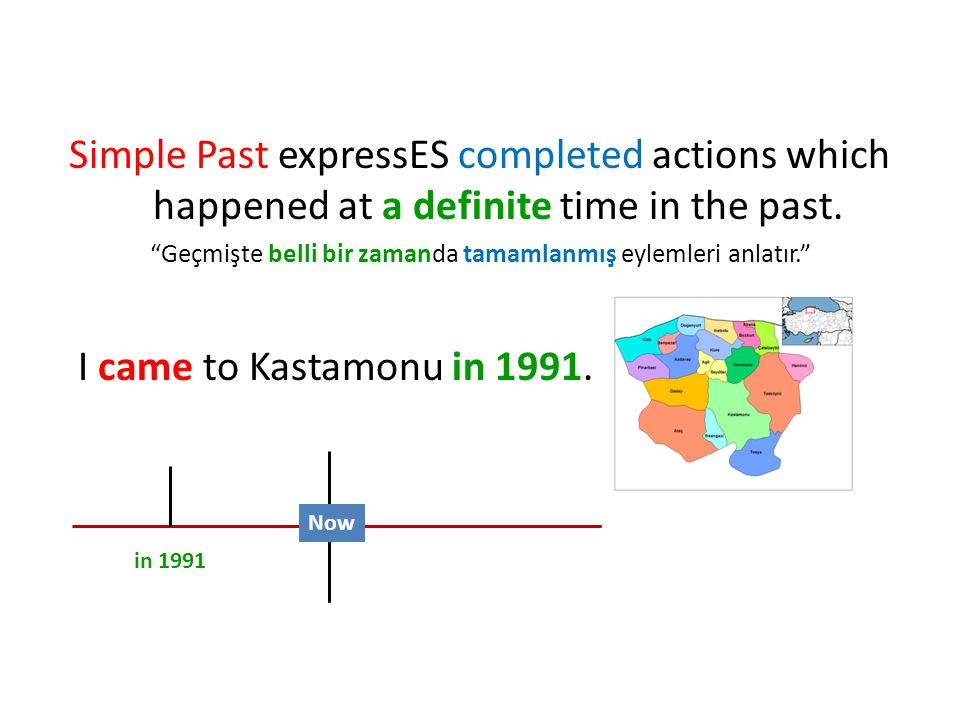 Simple Past expressES completed actions which happened at a definite time in the past.