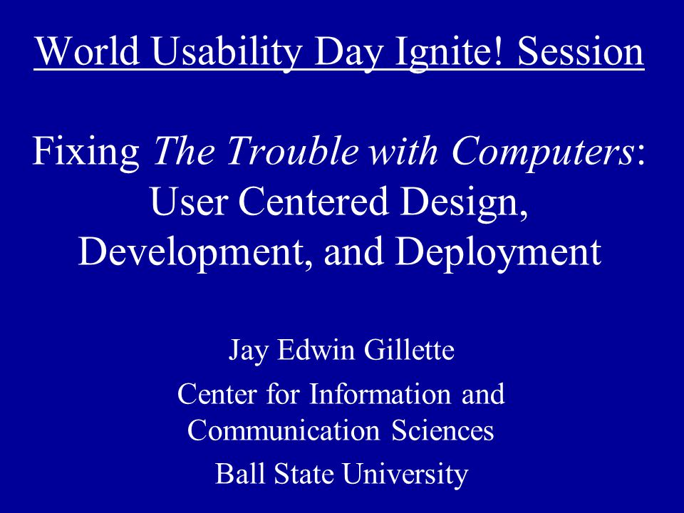 World Usability Day Ignite.