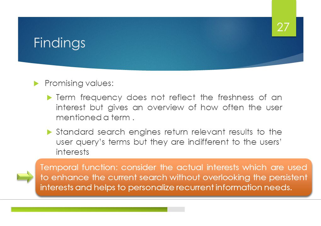 Findings  Promising values:  Term frequency does not reflect the freshness of an interest but gives an overview of how often the user mentioned a term.