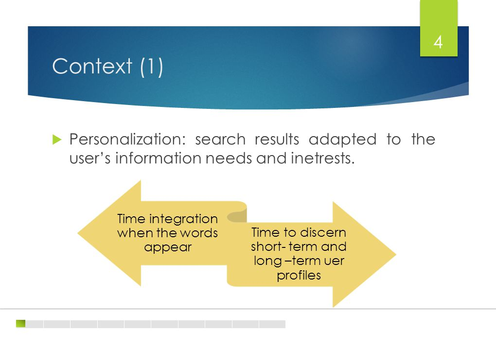 Context (1) 4  Personalization: search results adapted to the user's information needs and inetrests.