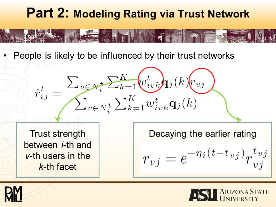 Part 2: Modeling Rating via Trust Network People is likely to be influenced by their trust networks Trust strength between i-th and v-th users in the