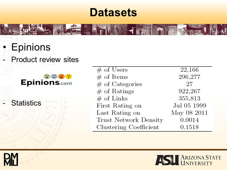 Datasets Epinions -Product review sites -Statistics