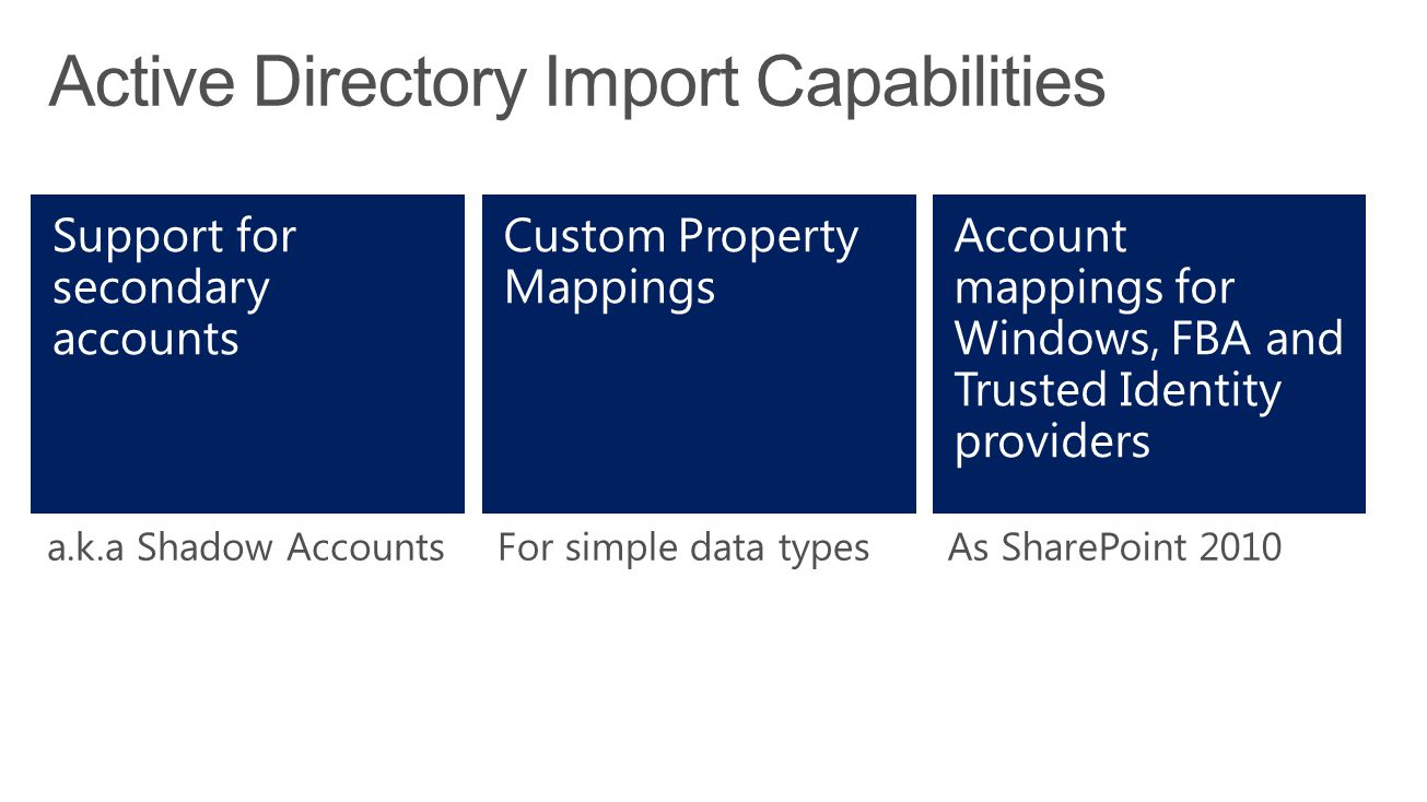 a.k.a Shadow AccountsFor simple data typesAs SharePoint 2010