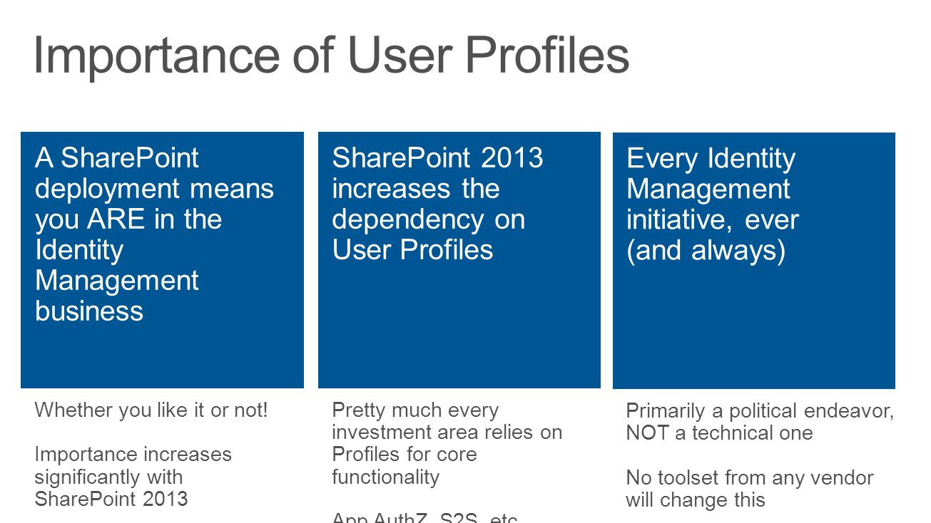 Whether you like it or not! Importance increases significantly with SharePoint 2013 Pretty much every investment area relies on Profiles for core func
