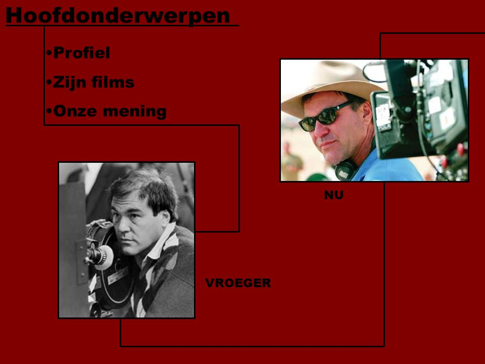 Profiel Zijn films Onze mening Hoofdonderwerpen VROEGER NU